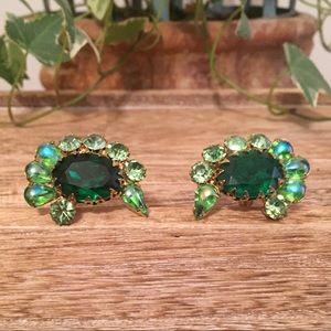 Vintage Emerald Rhinestone Earrings